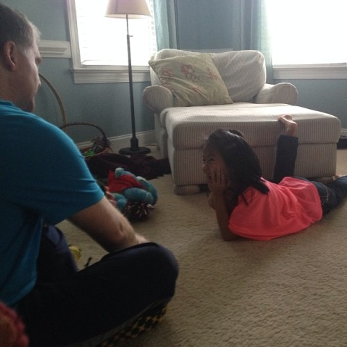 Dad and Ellie, enjoying some time at home. No work! All play.