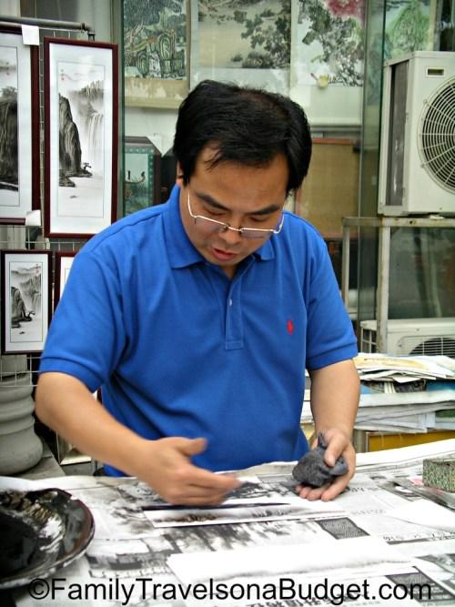 Artist at work in Guangzhou China