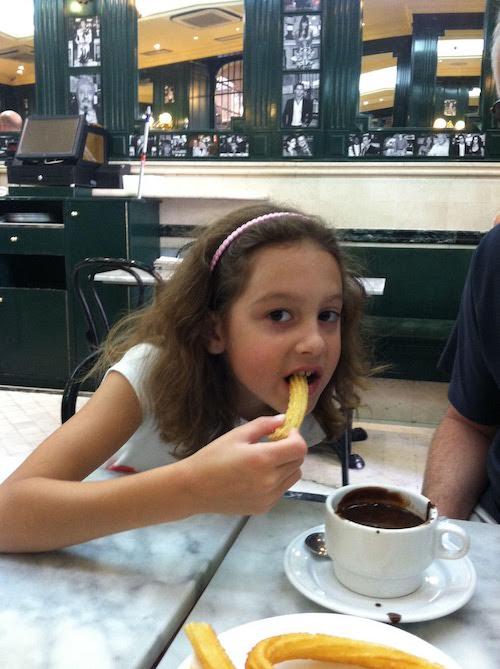 Delicious hot chocolate and churros at Chocolateria San Gimes.