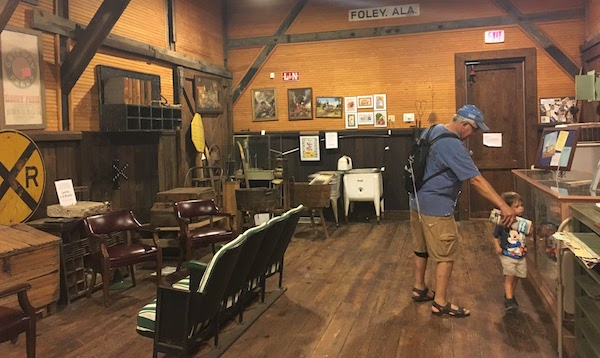 Guests enjoying exhibits in the Foley train museum