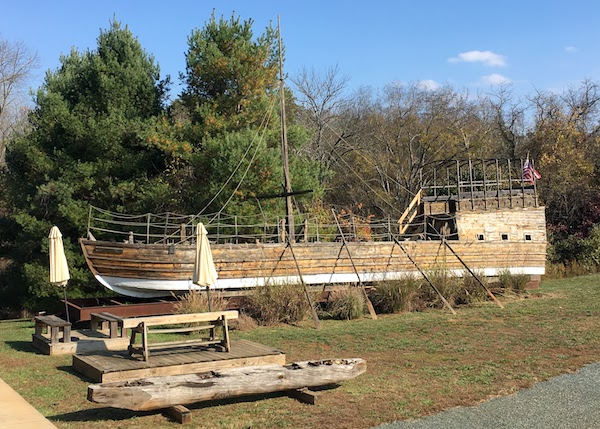 replica keel boat at the Lewis & Clark Exploratory Center