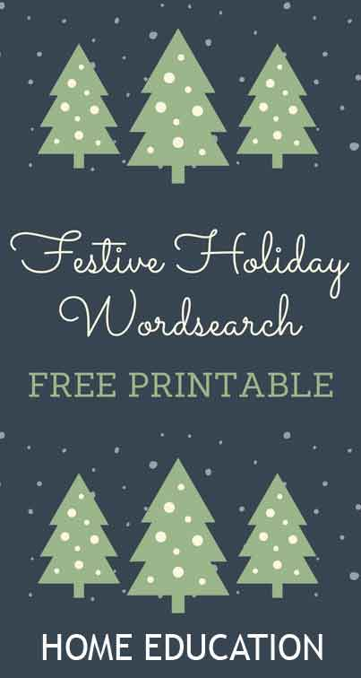Festive Holiday Wordsearch Free Printable for Home Education