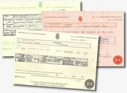 Birth Marriage or Death Certificate search