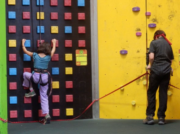 Indoor climbing wall, good for rainy day