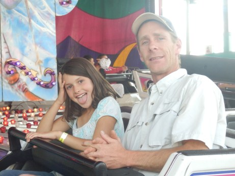 Chris accompanied Louise on the rides as her parents are whimps!