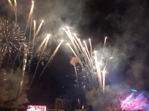 Amazing firework display at the end of the evening