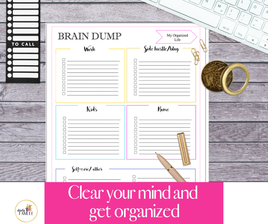 This is a graphic of Vibrant Brain Dump Printable