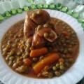 petits pois carotte à la viande d'agneau