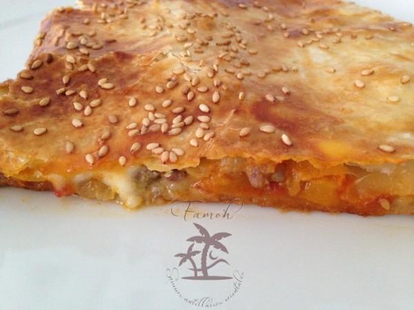 feuilleté poivron, mozzarella