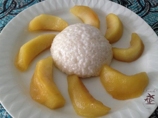 Perles du japon au lait de coco et pommes sautées.