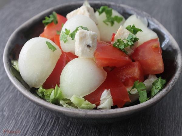 Salade melon feta tomates