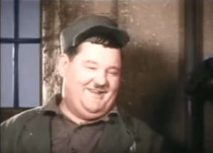 "Oliver Hardy in prison garb in ""Pardon Us"""