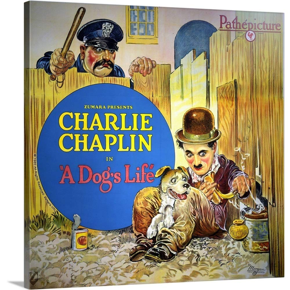Color art poster of Charlie Chaplin in the short film A Dog's Life