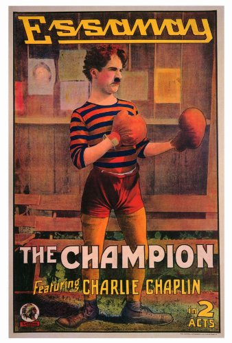 Color art poster of Charlie Chaplin from The Champion, a classic short film made for the Essannay film company.