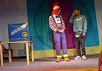 Juggles, during his staff on stage presentation, doing audience participation with J-Jay, who was himself a somewhat accomplished juggler.