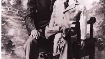 Photography of a young Don Knotts with his ventriloquist dummy