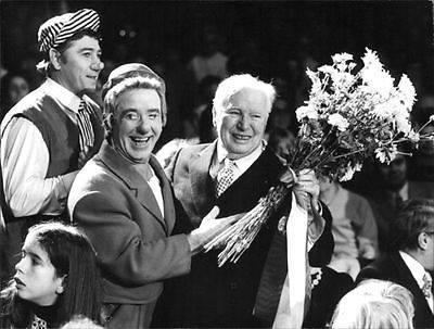 Elderly Charlie Chaplin visiting the Circus Knie