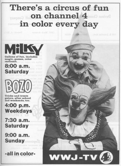 Milky and Bozo the Clown, WWJ-TV, 1967