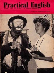 """Emmett Kelly Sr. on the cover of """"Practical English'"""