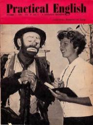 "Emmett Kelly Sr. on the cover of ""Practical English'"