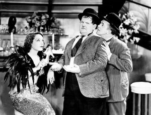 Lupe Velez with Oliver Hardy and Stan Laurel in Hollywood Party