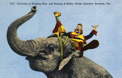 Lou Jacobs riding an elephant