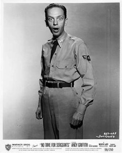 Don Knotts in a publicity photo from No Time for Sergeants where he had a minor role with his friend Andy Griffith, which led to his most famous TV role.