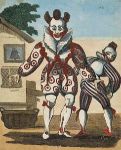 """Woodcut of """"Grimaldi and Son"""" printed by John Arliss of Gutter Lane (so almost certainly Joseph Grimaldi and Joseph Samuel Grimaldi, who performed together as father and son Clowns about 1812 to 1820; Arliss was in partnership with Huntsman before 1809)"""