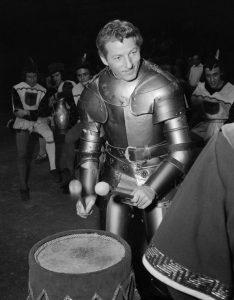 Danny Kaye in armor in The Court Jester