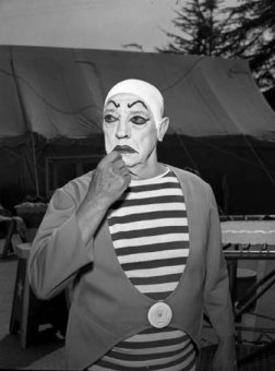 Buster Keaton in whiteface clown makeup for The Greatest Show on Earth TV show