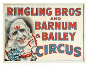 Pat Valdo's famous whiteface clown on a Ringling Brothers poster