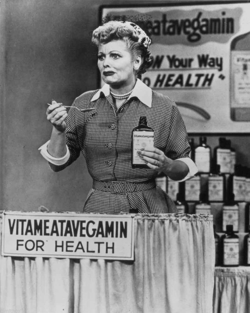 "An actual scene from the famous ""Lucy Does a Television Commercial"" - I love the look on Lucy's face as she swallows the Vitameatavegamin - ""... and it's so tasty, too!"""