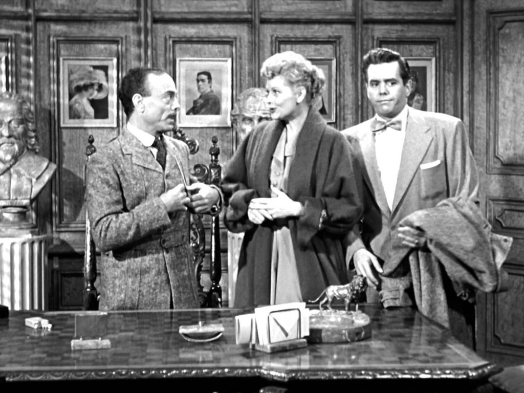 Jay Novello, Lucille Ball, and Desi Arnaz in the I Love Lucy episode, The Seance