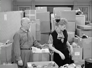 Lucy Hates to Leave - boxes galore in the Mertzes apartment, with Fred and Lucy trying to navigate