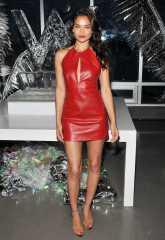 Shanina Shaik - Leather Mini Dress