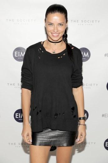 Adriana Lima - Leather Mini Skirt
