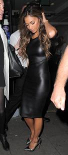 Nicole Scherzinger - Leather Midi Dress
