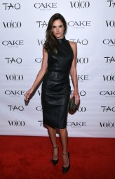 Alessandra Ambrosio - Leather Midi Dress