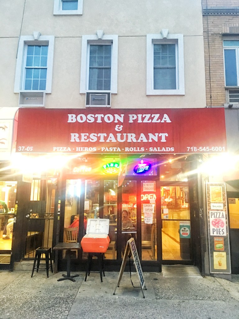 Boston Pizza exterior, Astoria, Queens, NYC