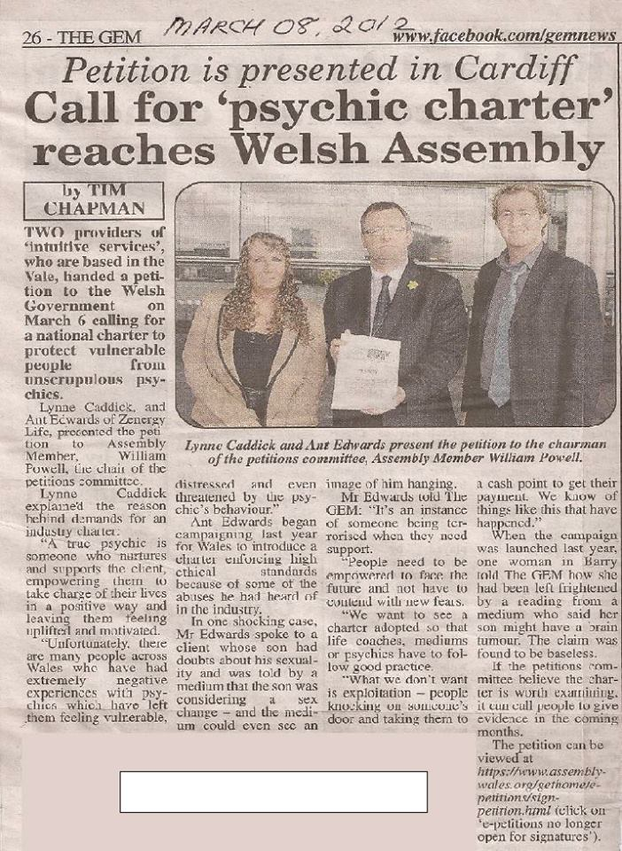 Presenting Charter for Better Psychic Practice in Wales to the Welsh Assembly Government