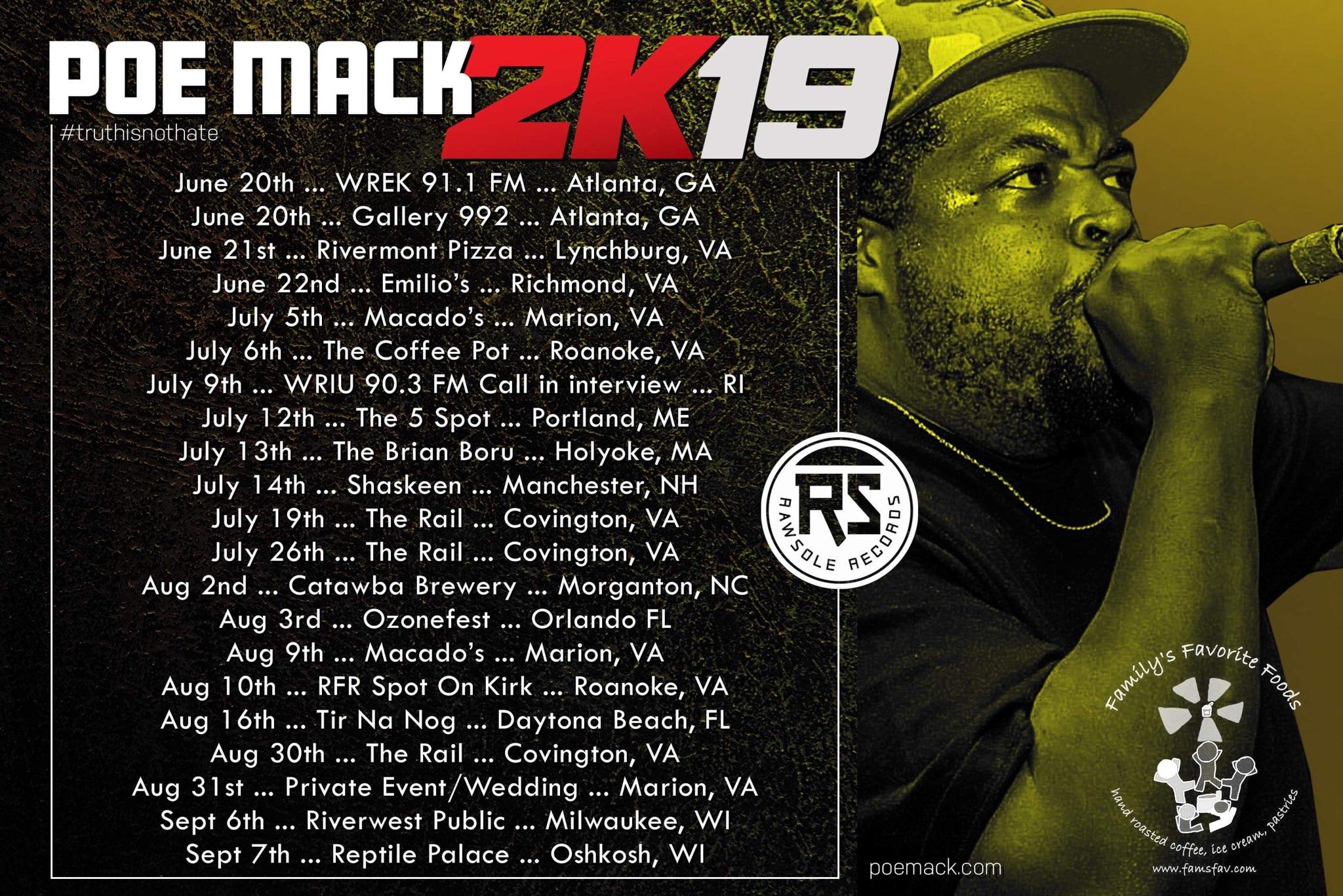 Poe Mack 2K19 Tour sponsored by Family's Favorite Foods