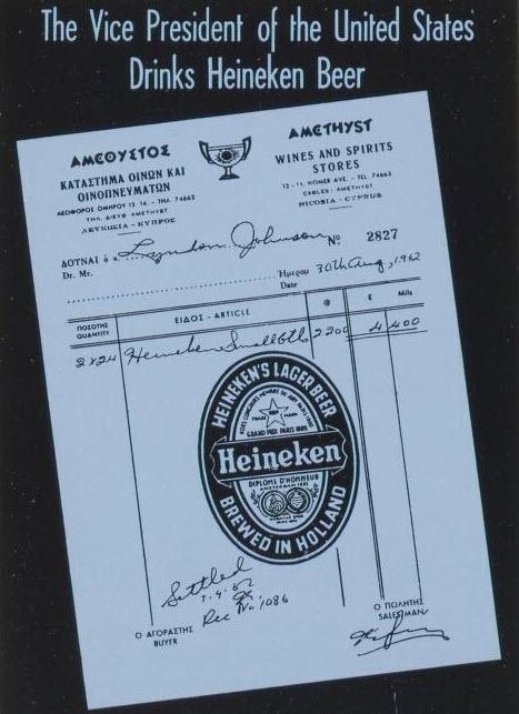 US Vice President Lyndon Johnson orders Heineken Beer