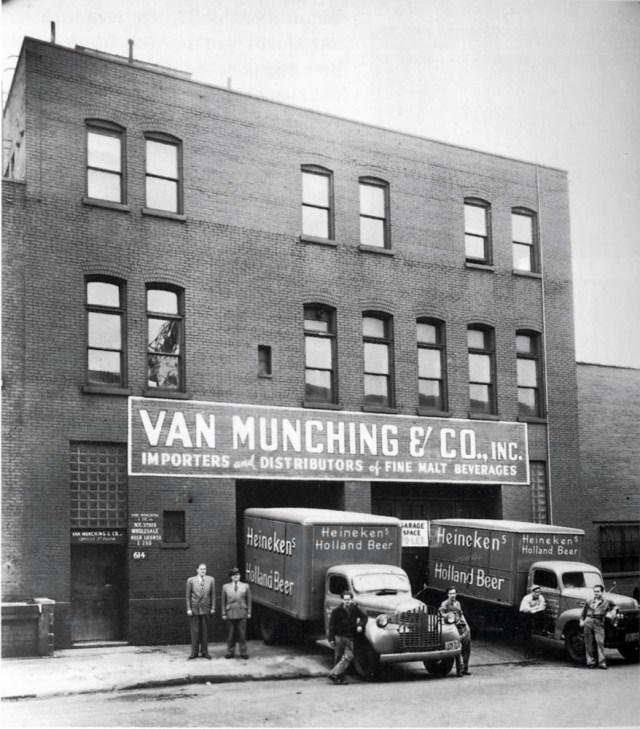 Leo van Munching standing in front of his new office in Manhattan in 1948