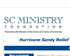 """Cincinnati Srs. of Charity Foundation  –  $100,000 """"Sandy"""" aid"""