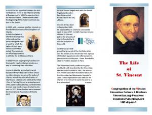life of vincent trifold pamphlet form famvin newsen
