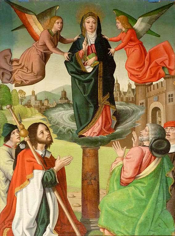 Aparición de la Virgen a Santiago Zebedeo en Zaragoza Tabla gótica flamenca