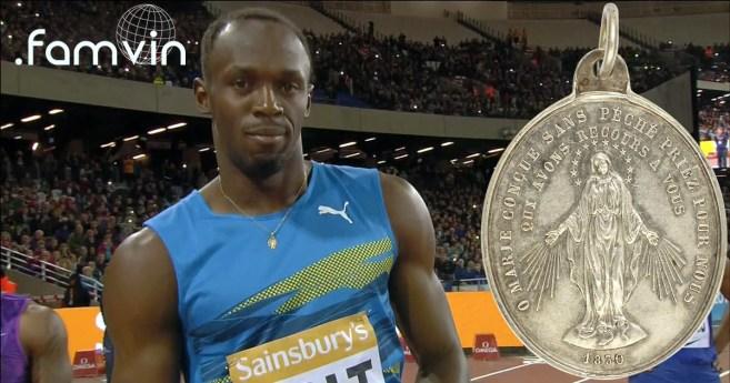 La Medalla Milagrosa corre la carrera de los 100 metros con Usain Bolt, en los Juegos Olímpicos