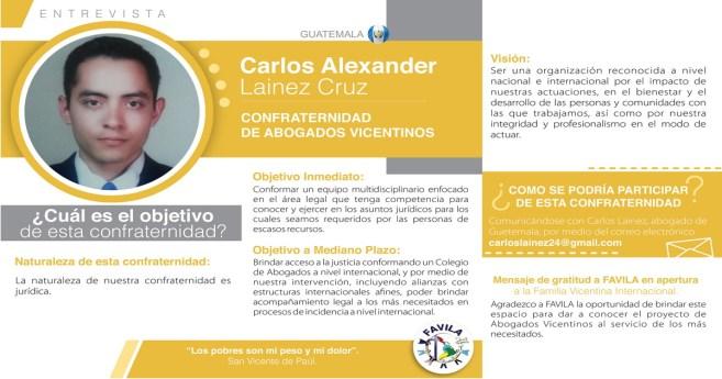 Entrevista a Carlos Alexander Lainez Cruz, responsable de la Confraternidad de Abogados vicentinos