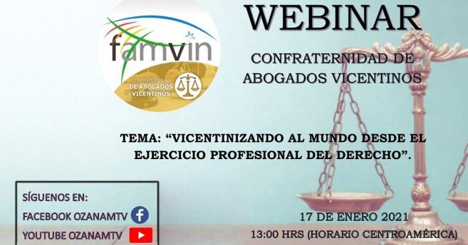 Webinar de la Confraternidad de Abogados Vicentinos, el 17 de enero