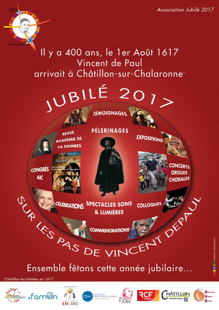 le dépliant, le calendrier des événements et l'affiche du Jubilé 2017 à Châtillon sur Chalaronne